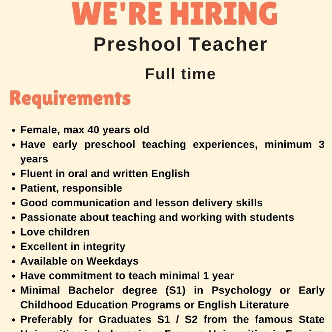 WE ARE HIRING TEACHER FOR SINERGIA JABODETABEK
