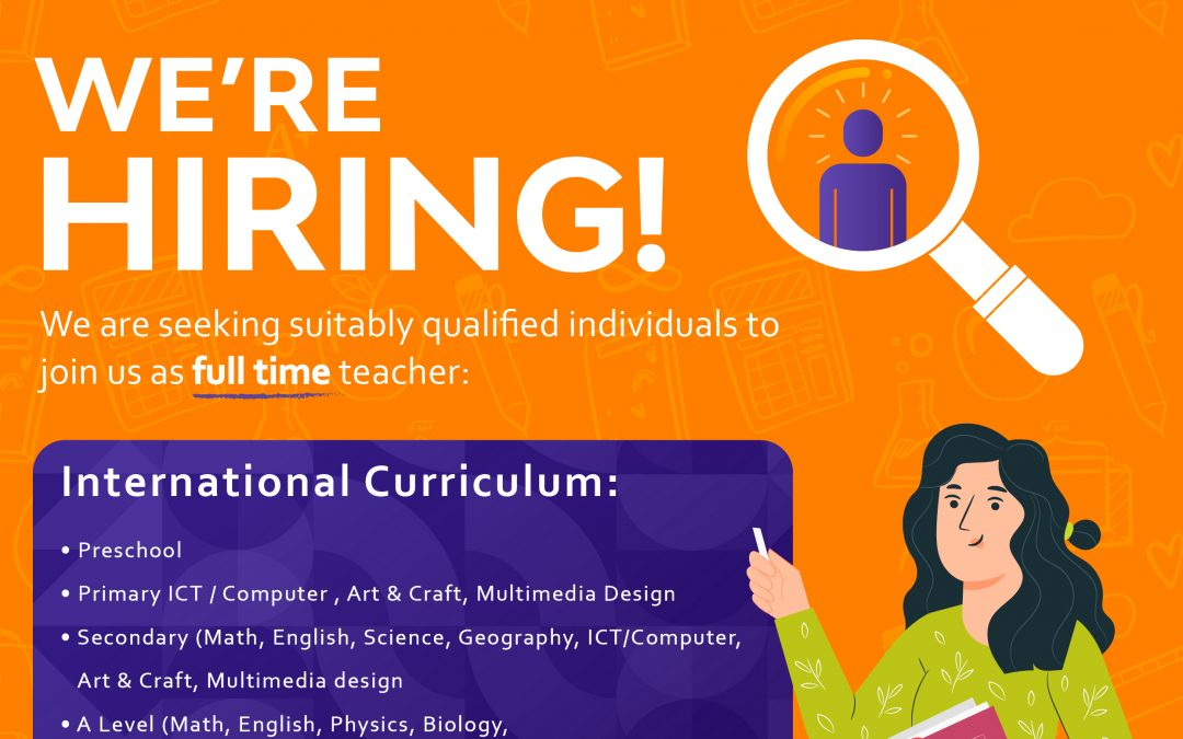 WE ARE HIRING FULL TIME TEACHER
